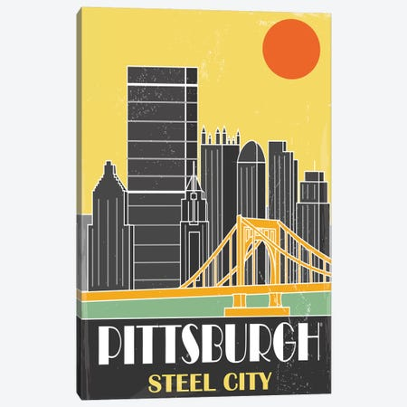 Pittsburgh, Yellow Canvas Print #FLY39} by Fly Graphics Canvas Art Print