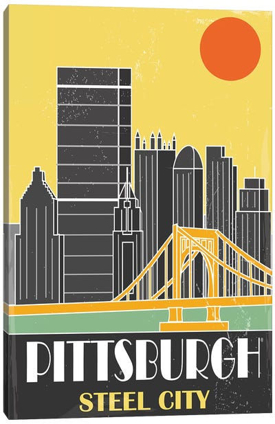 Pittsburgh, Yellow Canvas Art Print