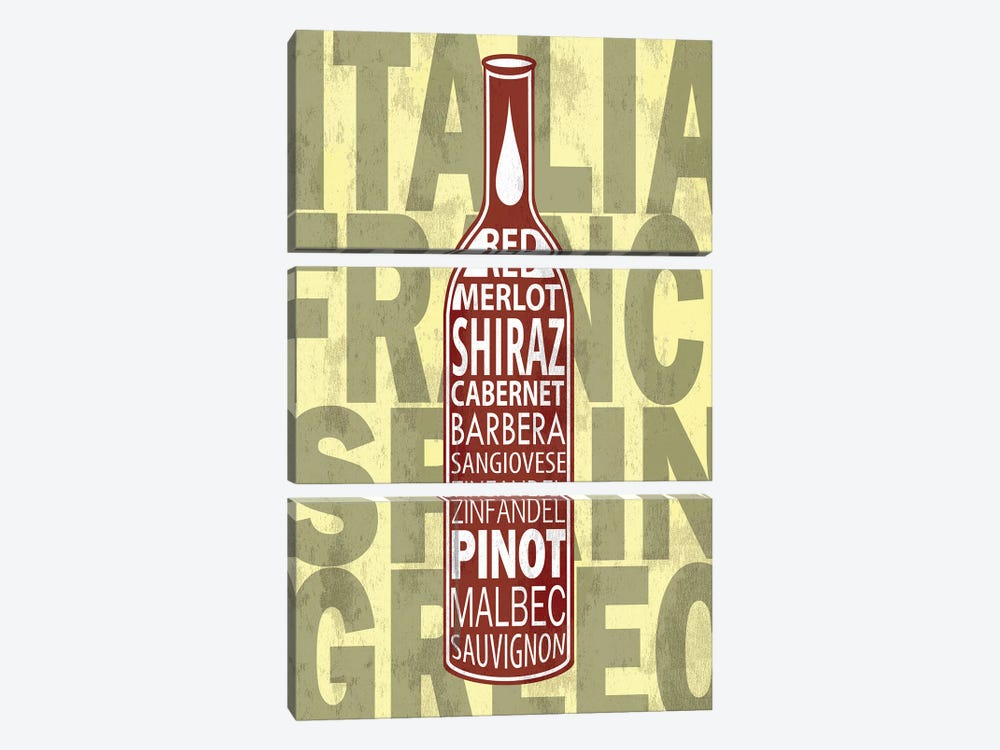 Red Wines by Fly Graphics 3-piece Canvas Wall Art