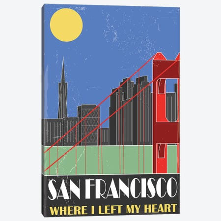 San Francisco, Sky Blue Canvas Print #FLY41} by Fly Graphics Canvas Art