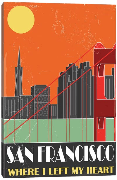 San Francisco, Orange Canvas Art Print