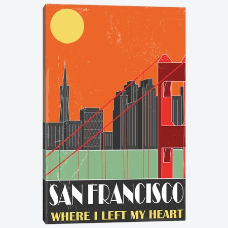 San Francisco, Orange Canvas Print #FLY42} by Fly Graphics Canvas Art