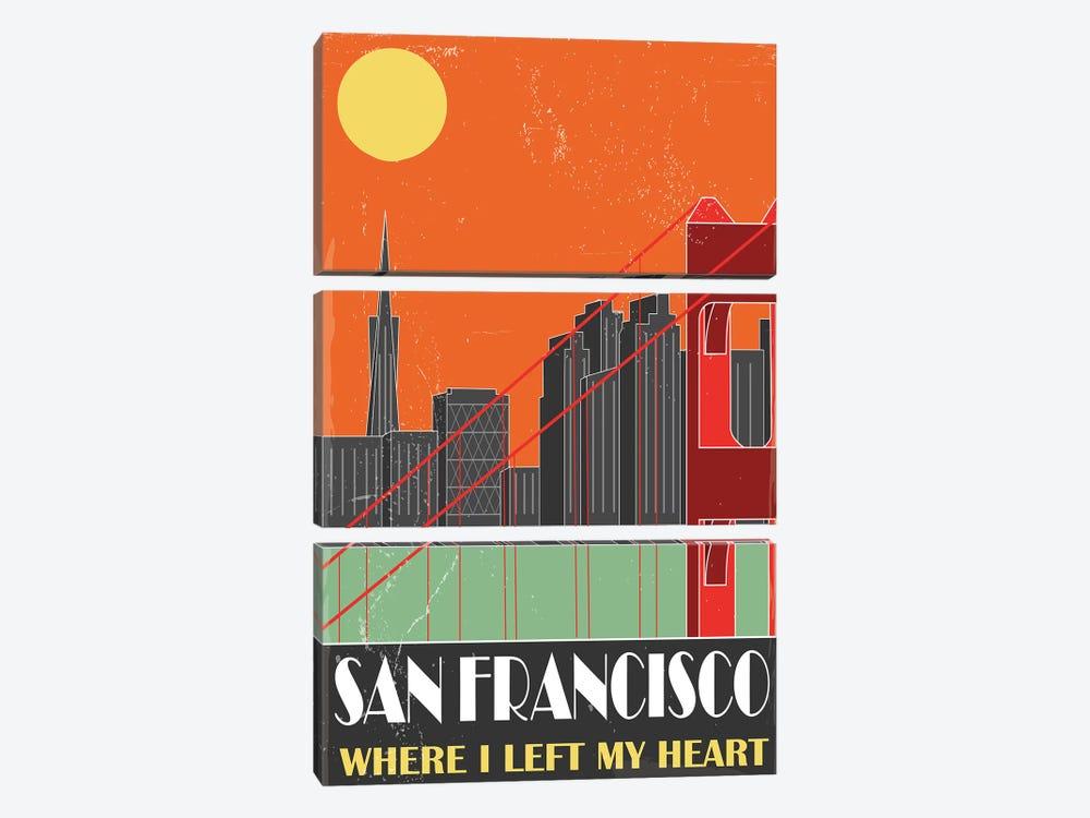San Francisco, Orange by Fly Graphics 3-piece Canvas Art
