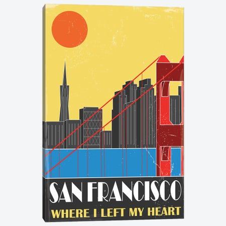 San Francisco, Yellow Canvas Print #FLY43} by Fly Graphics Canvas Art