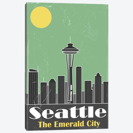 Seatle Canvas Print #FLY44} by Fly Graphics Canvas Art Print
