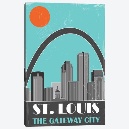 St. Louis, Sky Blue 3-Piece Canvas #FLY45} by Fly Graphics Canvas Print
