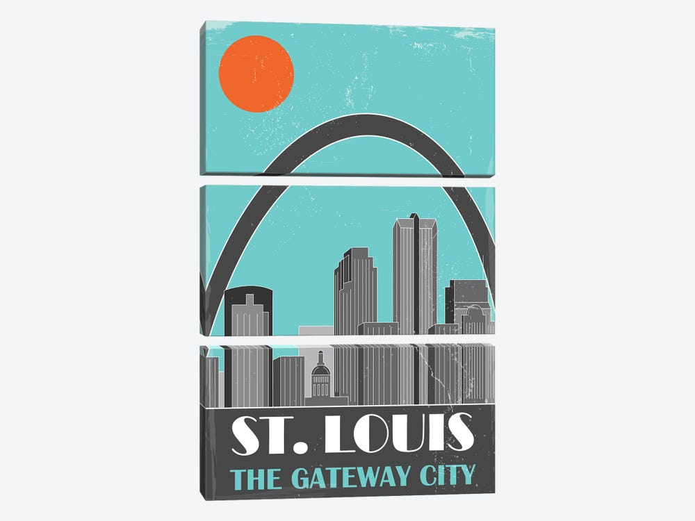 St. Louis, Sky Blue by Fly Graphics 3-piece Canvas Print