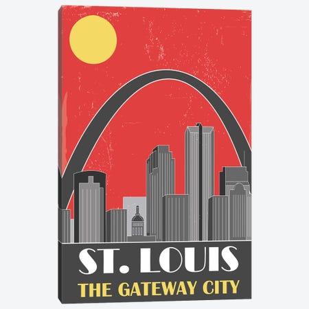 St. Louis, Red 3-Piece Canvas #FLY46} by Fly Graphics Canvas Print