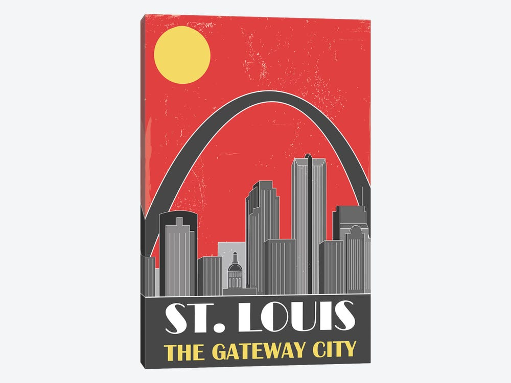 St. Louis, Red by Fly Graphics 1-piece Canvas Artwork