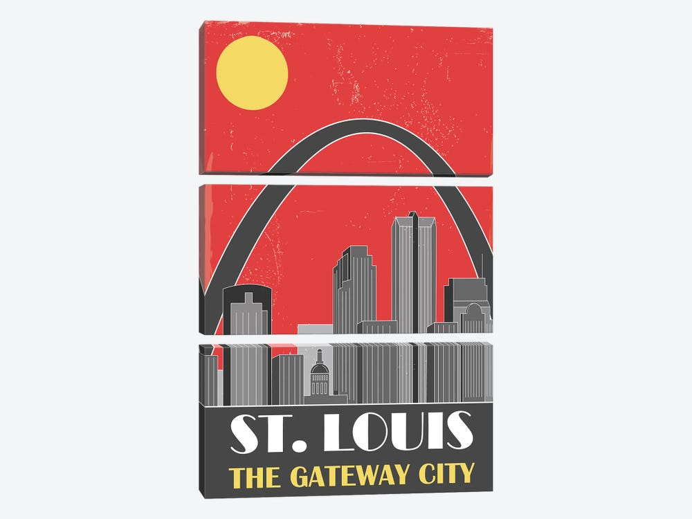 St. Louis, Red by Fly Graphics 3-piece Canvas Art