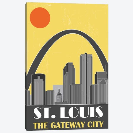 St. Louis, Yellow Canvas Print #FLY47} by Fly Graphics Canvas Print