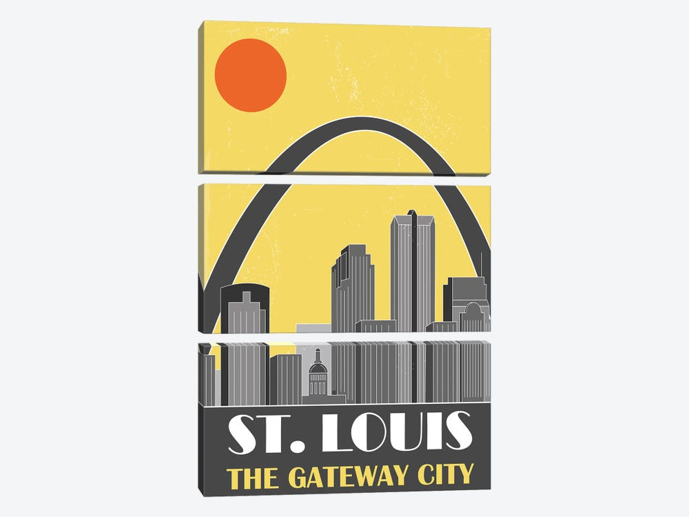 St. Louis, Yellow by Fly Graphics 3-piece Art Print