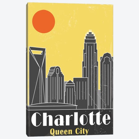 Charlotte, Yellow Canvas Print #FLY4} by Fly Graphics Canvas Artwork