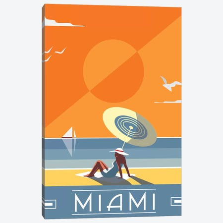 Miami Canvas Print #FLY50} by Fly Graphics Art Print