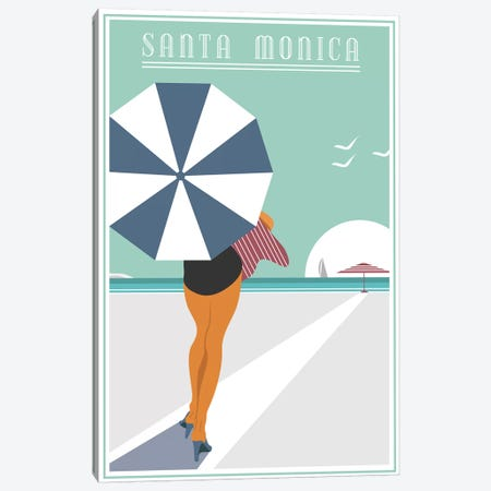 Santa Monica Canvas Print #FLY51} by Fly Graphics Art Print