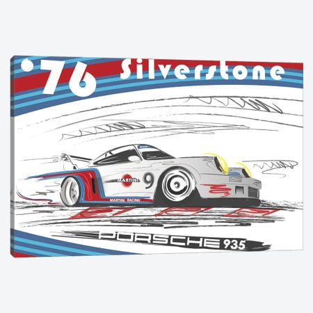 Porsche 911 1974 Silverstone Canvas Print #FLY60} by Fly Graphics Canvas Wall Art