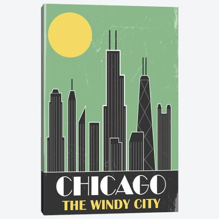 Chicago, Green Canvas Print #FLY6} by Fly Graphics Canvas Wall Art