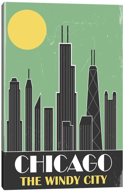 Chicago, Green Canvas Art Print