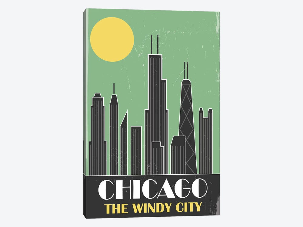 Chicago, Green by Fly Graphics 1-piece Canvas Artwork
