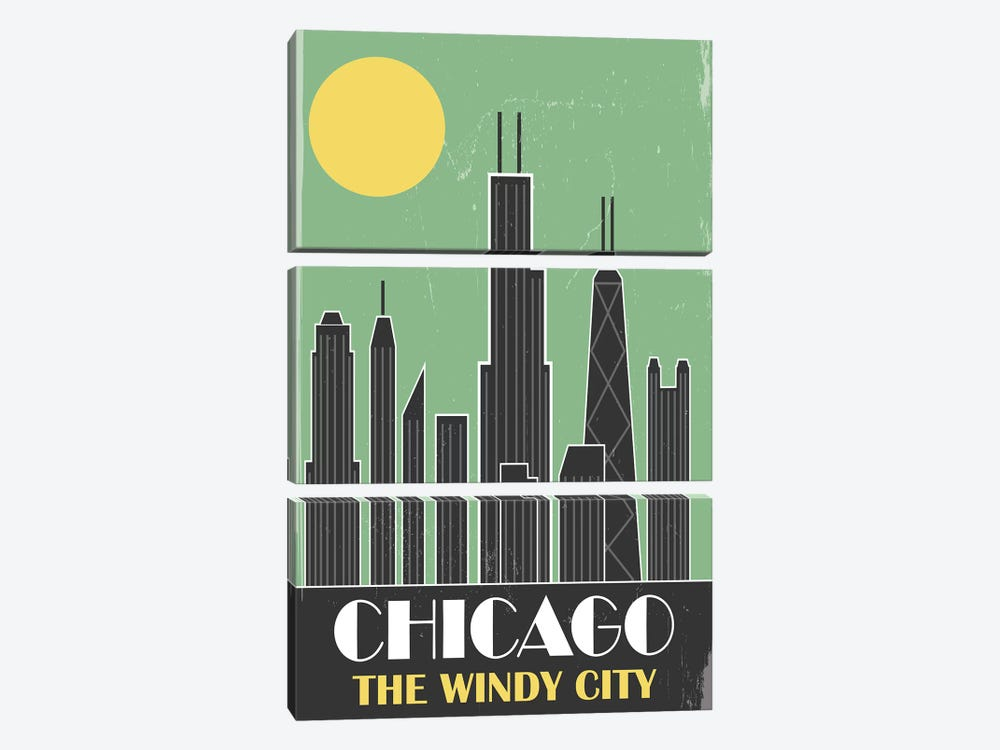 Chicago, Green by Fly Graphics 3-piece Canvas Art