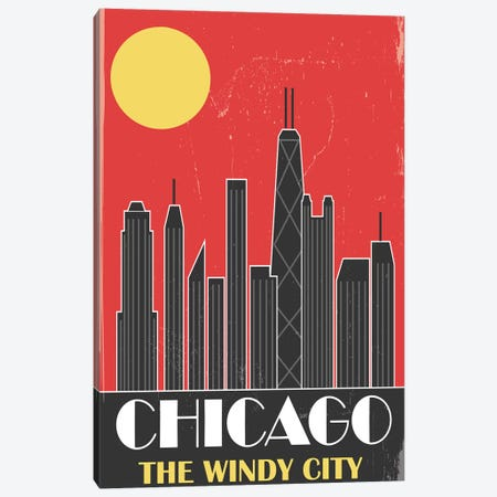 Chicago, Red Canvas Print #FLY7} by Fly Graphics Canvas Art