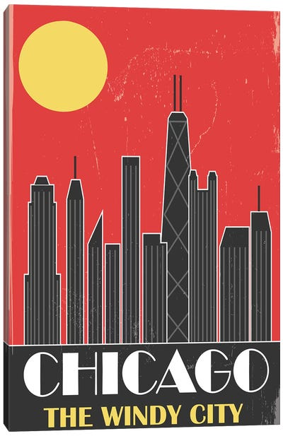 Chicago, Red Canvas Art Print