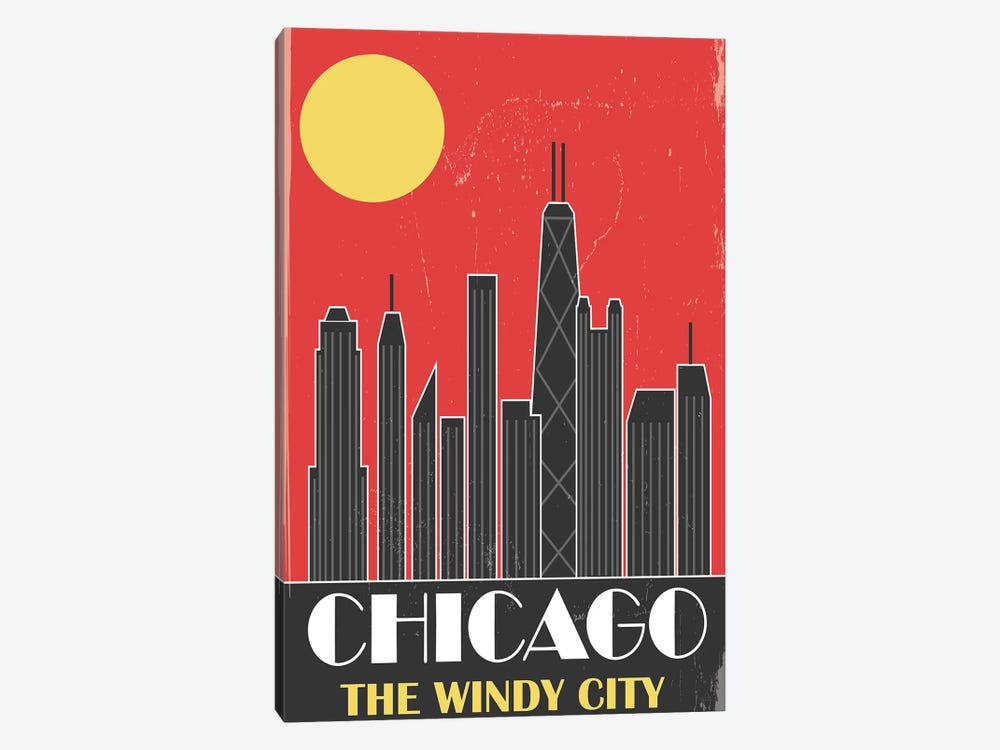 Chicago, Red by Fly Graphics 1-piece Canvas Art Print