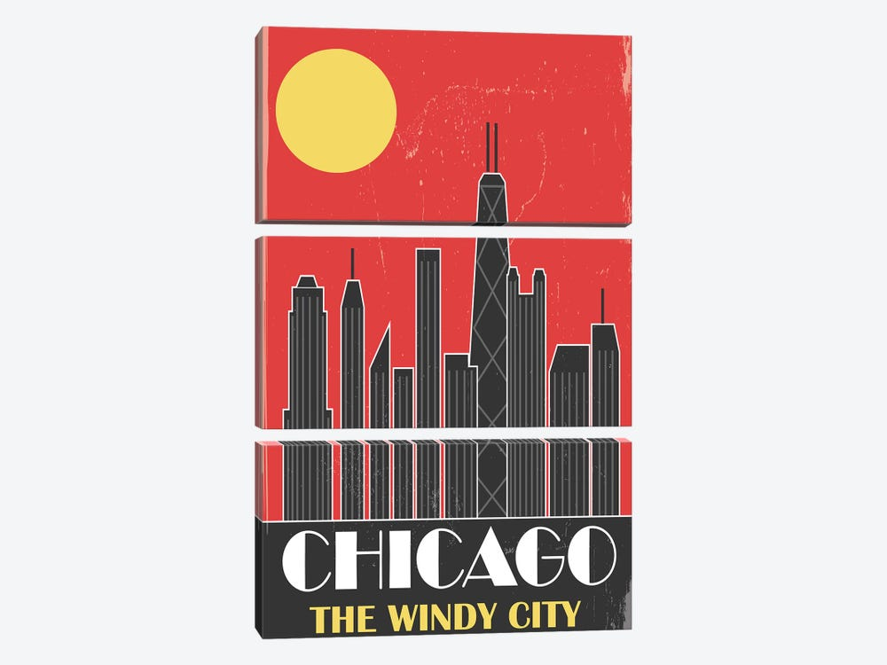 Chicago, Red by Fly Graphics 3-piece Art Print