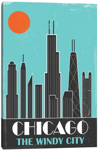 Chicago, Sky Blue Canvas Art Print