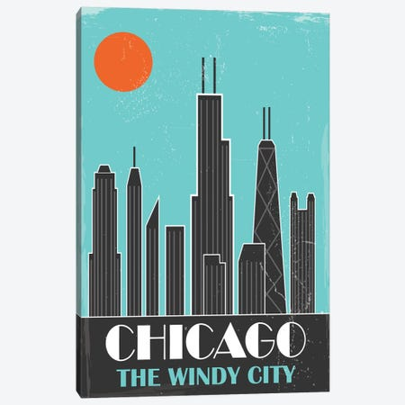 Chicago, Sky Blue Canvas Print #FLY8} by Fly Graphics Art Print