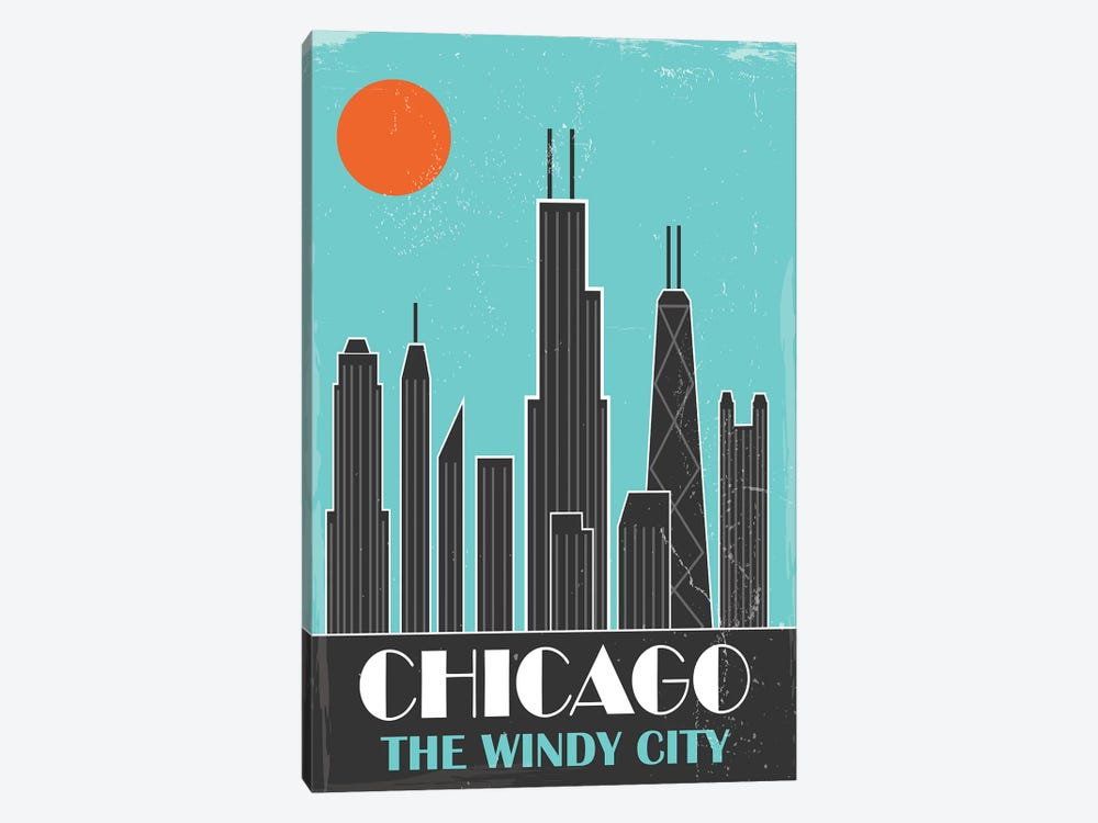 Chicago, Sky Blue by Fly Graphics 1-piece Canvas Wall Art