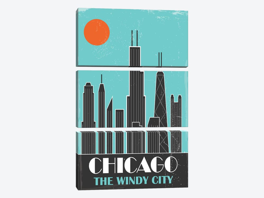 Chicago, Sky Blue by Fly Graphics 3-piece Canvas Art