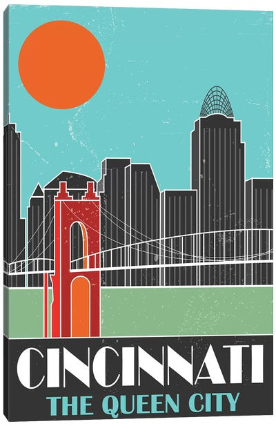 Cincinnati, Sky Blue Canvas Art Print