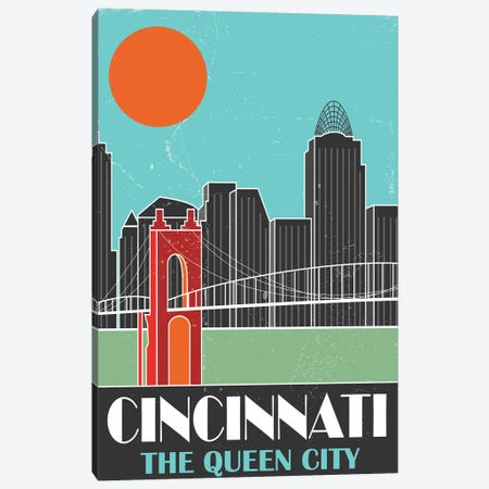 Cincinnati, Sky Blue Canvas Print #FLY9} by Fly Graphics Art Print