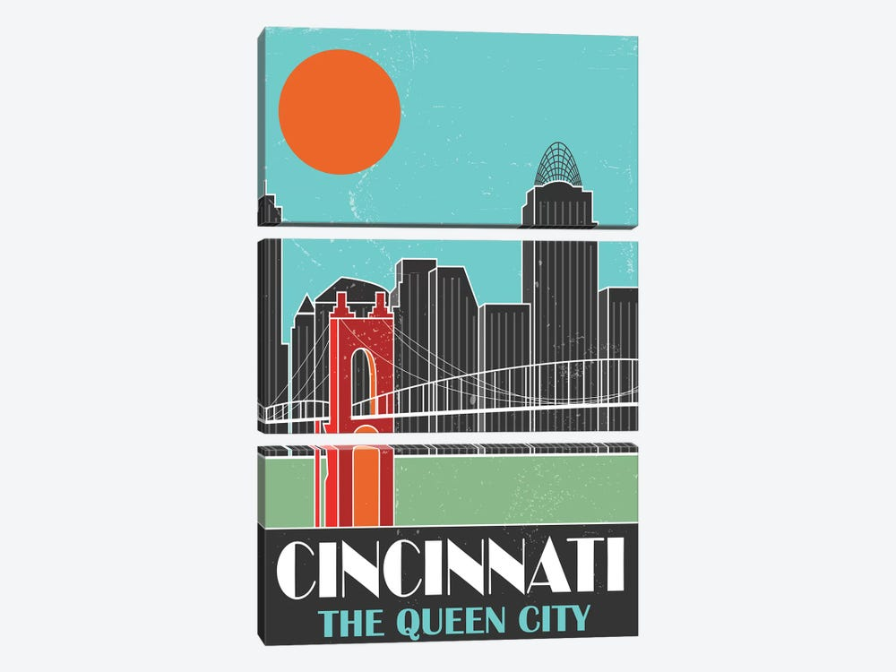 Cincinnati, Sky Blue by Fly Graphics 3-piece Art Print