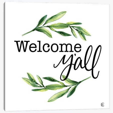 Welcome Y'all Canvas Print #FMC102} by Fearfully Made Creations Canvas Wall Art