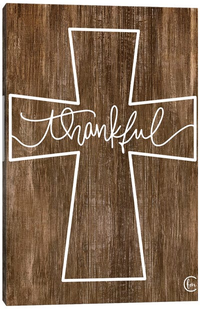 Thankful Cross Canvas Art Print