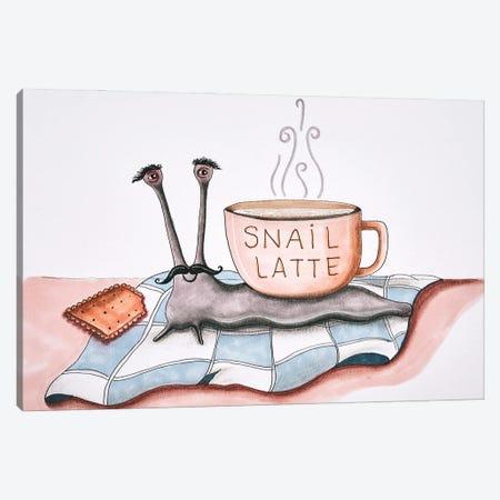 Snail Latte Canvas Print #FMM12} by Femke Muntz Canvas Art