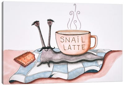 Snail Latte Canvas Art Print