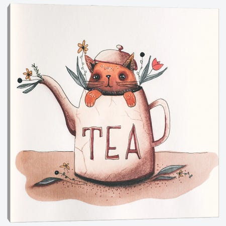 Cat In Teapot Canvas Print #FMM17} by Femke Muntz Canvas Print