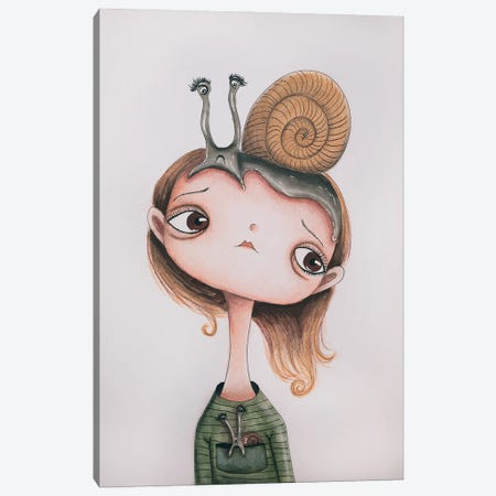 Snail Girl Canvas Print #FMM20} by Femke Muntz Art Print