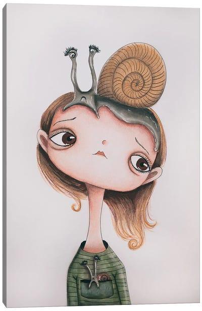 Snail Girl Canvas Art Print