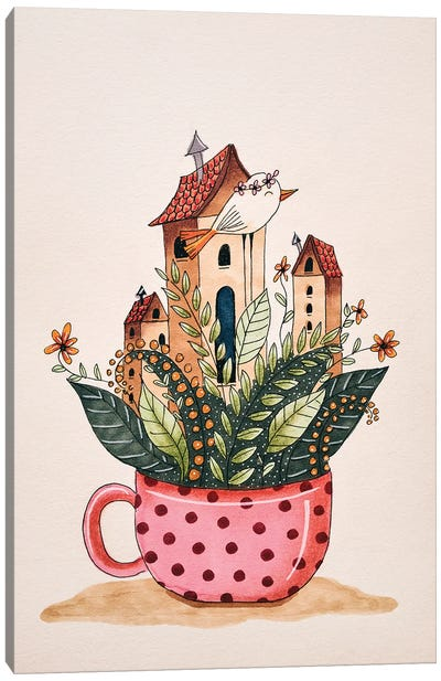 Houses In A Cup Canvas Art Print