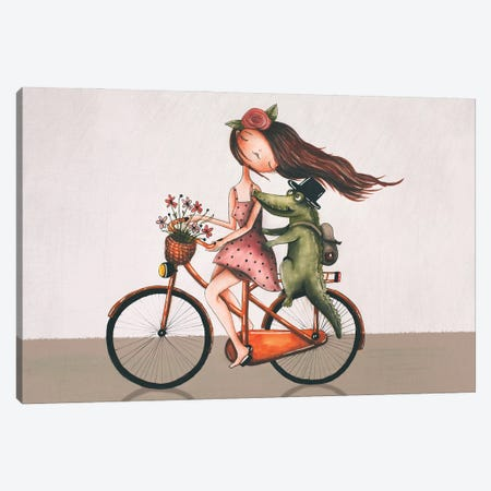 Lily And The Alligator Canvas Print #FMM22} by Femke Muntz Art Print