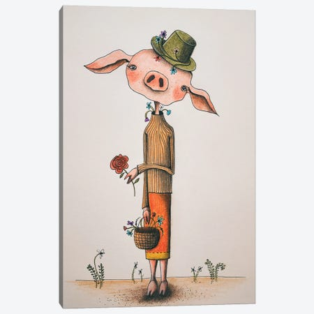 Mrs. Pig Canvas Print #FMM26} by Femke Muntz Canvas Artwork