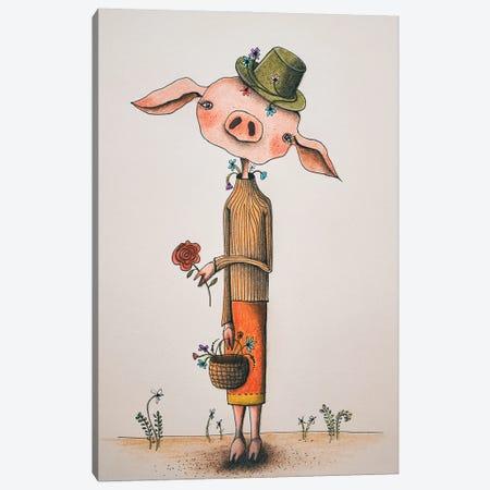 Mrs. Pig Canvas Print #FMM26} by Femke Muntz Canvas Artwork