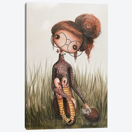 Hattie And The Hedgehog Canvas Print #FMM33} by Femke Muntz Canvas Wall Art