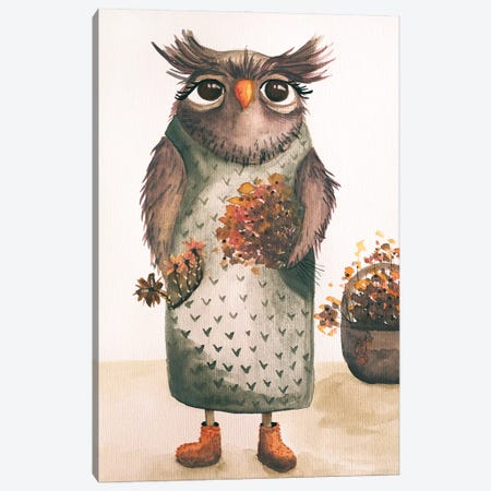 Mrs. Owl Canvas Print #FMM41} by Femke Muntz Canvas Art Print