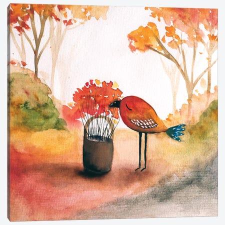 Bird in the fall Canvas Print #FMM44} by Femke Muntz Canvas Wall Art