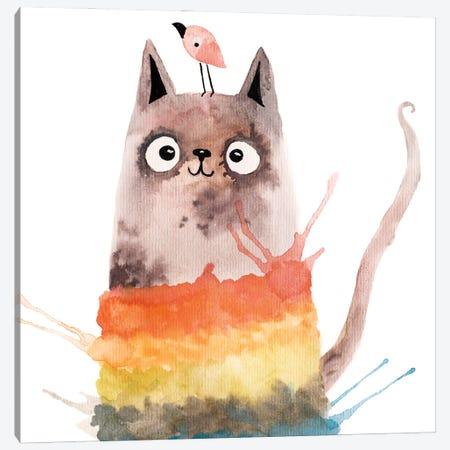 Colorful Cat Canvas Print #FMM53} by Femke Muntz Canvas Artwork